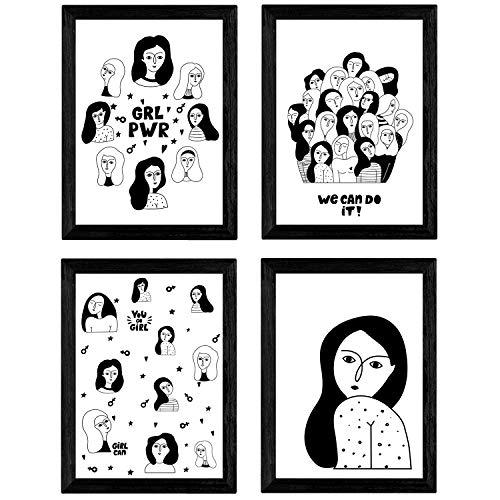 Nacnic Set de 4 láminas Mujeres, Chicas al Poder. Posters con Dibujos de Mujeres. Tamaño A3 sin Marco