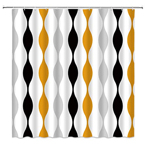 Mid Century Shower Curtain Abstract Geometric Creative Vintage Colorful Wave Water Drop Striped Shaped Retro Classic Modern Pattern Fashion Artwork Fabric Bathroom Curtain Decor with Hook