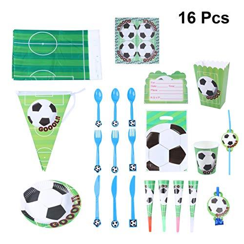 LIOOBO 16 Stücke Fußball Themenorientierte Partei Liefert Kit Weltmeisterschaft Strohhalme Cupcake Topper Platten Trompete Popcorn Box Dekor für Geburtstag Sport
