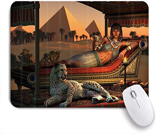 Benutzerdefiniertes Büro Mauspad,Ägypten Leopard Altägyptische Sex Lady und ein zahmer Gepard,Anti-slip Rubber Base Gaming Mouse Pad Mat