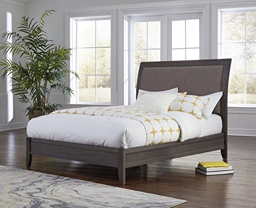 Modus Furniture City II Upholstered Sleigh Bed, King, Basalt Gray