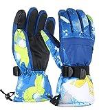 TBoonor Skihandschuhe Touchscreen Winterhandschuhe Herren Damen Kinder Wasserdicht rutschfest Handschuhe für Outdoor Wintersport wie Snowboard Radfahren (Blau, XS (8-10 Jahre))