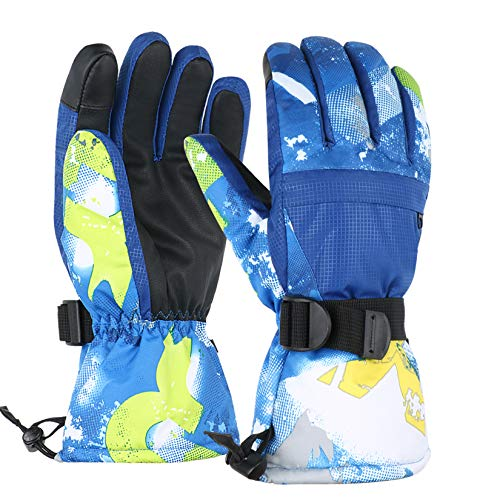 TBoonor Skihandschuhe Touchscreen Winterhandschuhe Herren Damen Kinder Wasserdicht rutschfest Handschuhe für Outdoor Wintersport wie Snowboard Radfahren (Blau, L (Erwachsene))