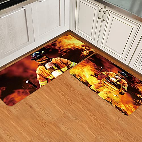 Kitchen Rugs Set of 2 Fire Fighter Fighting a Fire Kitchen Rugs and Mats Non-slip Washable Low Profile Doormats Home Decor Indoor Floor Mats for Entryway Sink Stove Kitchen Office (20'x24'+20'x48')