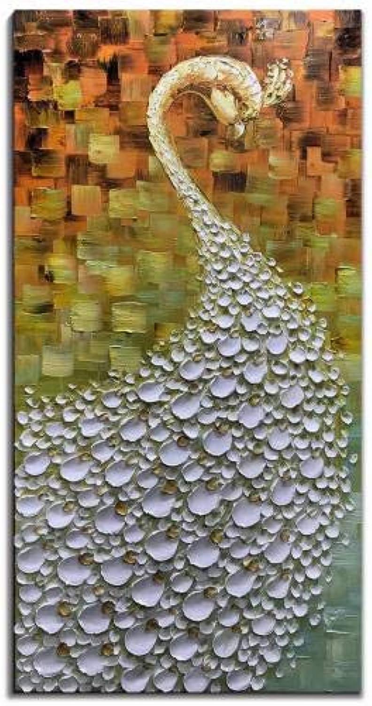 perfecto YAOUAPT Pintado A Mano DIY Retro Tridimensional Animal Animal Animal Pintura Al óleo Pavo Real blancoo Estudio Sala De EEstrella Decoración del Hogar Pintura 60X120Cm  envio rapido a ti