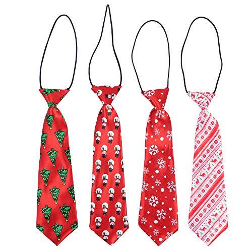 ABOOFAN 4pcs Navidad Niños Corbatas Dibujos Animados Niños Guapos Corbatas Creativas Corbatas de Navidad Decoración Navideña