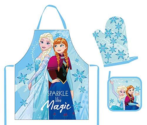 POS Handel GmbH 28623 Set tablier avec motif Disney Frozen Anna et Elsa comprenant tablier, gant et manique, dans une boîte cadeau pour enfant Multicolore