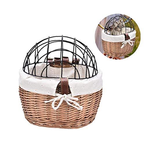 Adore store Pet Fahrradkorb mit Eisenrahmen beweglichen Fahrrad-Pet Basket Car Pet Basket abnehmbare Einkaufstasche geeignet für Hunde, Katzen, Kleintiere