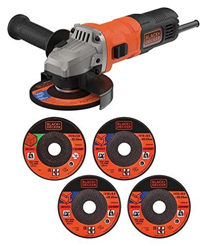 BLACK+DECKER 710 W Grinder Power Tool 115 mm with 5 Cutting Discs, BEG010A5-GB