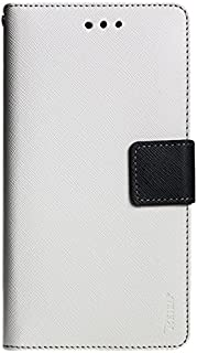 Reiko Premium Wallet Case with Stand, Flip Cover and 2 Card Holder for Alcatel Onetouch Evolve 2 4037T - Retail Packaging - White