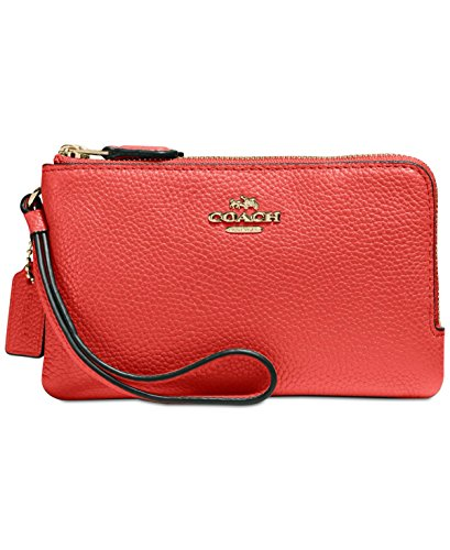 COACH Polished Pebbled Leather Double Small Wristlet Li/Deep Coral One Size