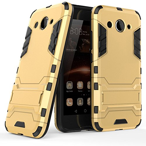 MYCASE Schutz Hülle Hülle für Huawei Y3 (2017)   Gold   Hard Cover mit Kickstand   Plastik Silikon Kunststoff TPU Schale Bumper Tasche Schutzhülle Handy Hülle