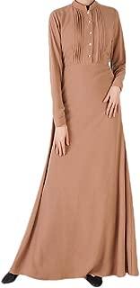 Howely Women Solid Colored Islamic Muslim Premium Arab Dubai Kaftan Dresses