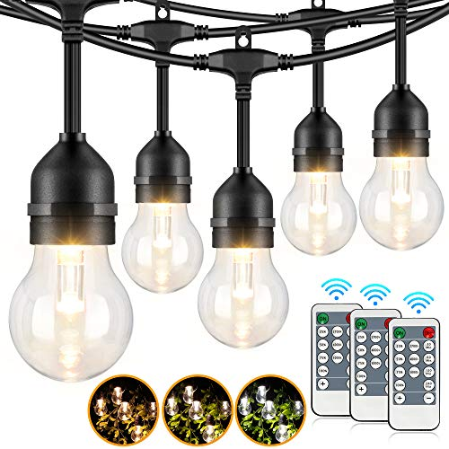 2-Pack 3 Colors Dimmable LED Outdoor String Lights for Patio with Remotes, 48FT Waterproof Hanging Light String with Shatterproof Edison Bulb for Bistro Pergola, Warm White/Nature White/Daylight White