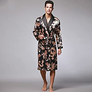 Hebei New Autumn Spring Men Bathrobe Kimono Robes V-Neck Silk Male Sleepwear Nightwear Man Bath Robe Blue L