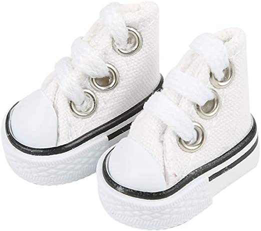 DIY-SCIENCE Mini Finger Shoes, Cute Tiny Shoes for Finger Breakdance/ Fingerboard/ Doll Miniature Shoes/ Making Sneaker Keychains etc. (White)