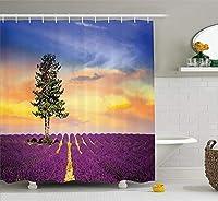 ラベンダーシャワーカーテンセット田舎の装飾紫の野原と夕日の空と大きな緑の木フレンチビレッジファブリックバスルーム180X180CM(71X71IN)