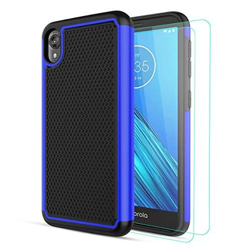 Alila for Motorola Moto E6 Case,Moto E 6th Gen Case with [2 Packs] Soft HD Screen Protectors,[Anti-Slip][Shockproof] Moto E6 Phone Case,Hybrid Rubber Silicone Rugged Phone Cover for Women/Men-(Blue)