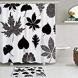 OPQRSTQ-O Stoff Duschvorhang & Matten Set,Ginkgo Biloba Ahorn verlässt abstraktes Blatt,Wasserabweisende Badvorhänge mit 12 Haken,rutschfeste Teppiche