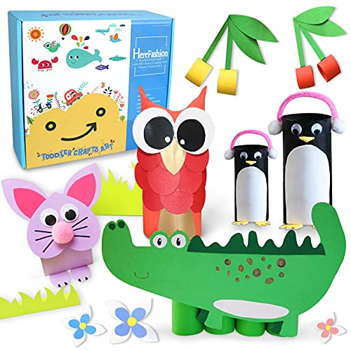 Here Fashion Paper Roll Craft for Kids DIY Simple Paper Craft from A to Z Recycled Craft Rolls Cardboard Tubes for Crafts Projects Arts and Crafts Supply Kit for Kids Age 3+ Pack of 200