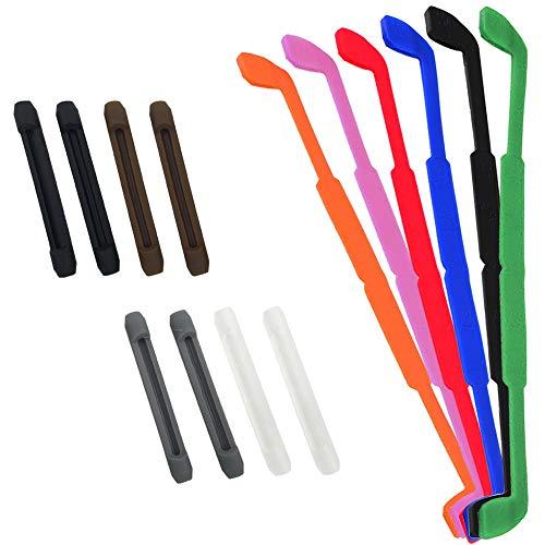 SENHAI Gafas antideslizantes de silicona de 6 piezas con protector de lentes, suave y flexible Estuche de gafas de lectura para niños Deportes para adultos