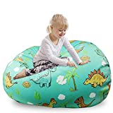 Stuffed Animal Toys Storage Dinosaur Bean Bag Chair Cover for Kids, Zipper Storage Bean Bag for Organizing Plush Toys Stuffed Animals Blankets Clothes,(No Beans) 24 x 24 Inch