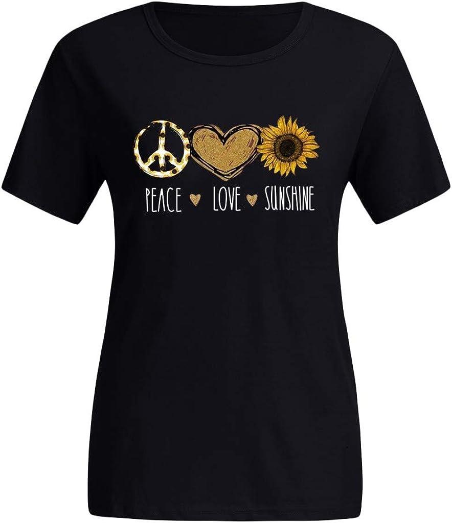 Shakumy Women T Shirts Cute Peace Love Sunshine Print Funny Graphic Tees Short Sleeve Casual Summer Tunics Tops Blouse