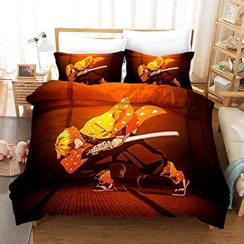 Wnmbmg Demon Slayer: Agatsuma Zenitsu Haushalt Polyester Mikrofaser Soft 3-teiliges Set Bettwäsche, Anime-Cartoon-Figuren 3D-Druck mit Reißverschluss 1 Bettbezug 2 Pillowcase Easy Clean