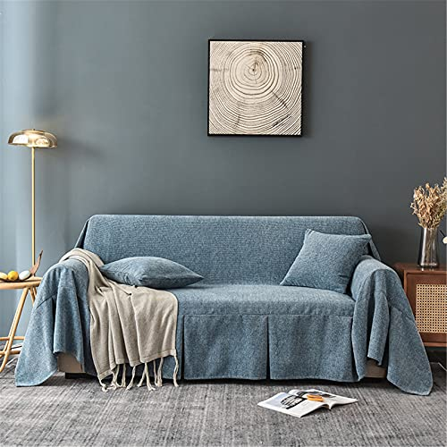 Cubiertas de sofá de Chenille - Cubiertas de sofá lavables suaves universales - Sofá funda de sofá Four Seasons Cojín Sofá cubierta - para Sofá Sofá cama Viajes,Azul,200 * 200cm