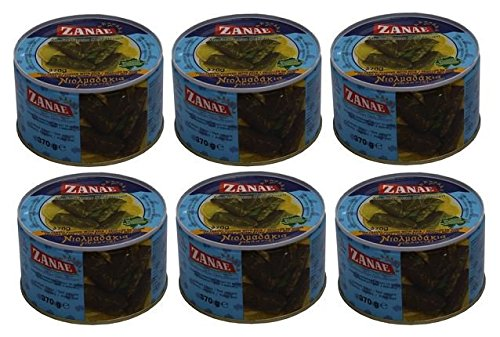6x griechische Weinblätter gefüllt mit Reis Spar Set 6 Dosen je 370g Fertiggericht Zanae aus Griechenland gefüllte Wein Blätter