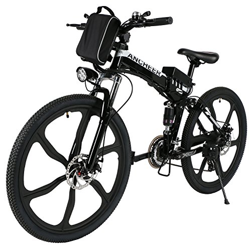 ANCHEER Electric Mountain Bike with 26' Super Lightweight Magnesium Alloy 6 Spokes Integrated Wheel, Large Capacity Lithium-Ion Battery (Whtie Frame)