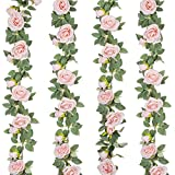 Helsens 4Pcs(26 FT) Artificial Rose Vine Fake Flower Garland Fake Silk Pink Rose Hanging Vine for Wedding Party Arch Garden Background Decoration