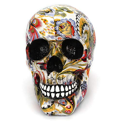 Aohi WXQ-XQ Decorative Statue, Skull Ornaments Head Color Flower Painting