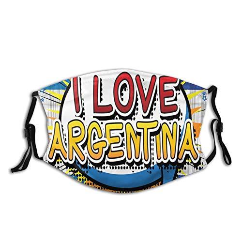 """FULIYA Mascarillas faciales reutilizables para mujeres y hombres, estilo de cómic, diseño de lunares con texto en inglés """"I Love Argentina Phrase On Beamed Figure"""", tamaño mediano, unisex, adulto"""