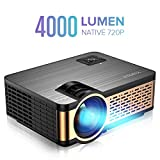 XIAOYA W5 Projector Native 720P with HiFi Speaker, 4000 Lumen Video Projector Support 1080P Display for Home Theater Entertainment, Compatible with HDMI, SD, AV, VGA, USB