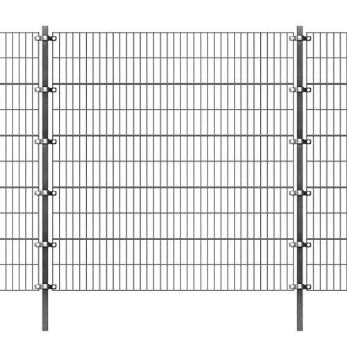XuzhEU Garten Netzen Zaun Panel mit Pfosten 6x 2m Anthrazit Draht Screening Rolle Bordüre Wind/Sonne Schutz für Huhn