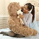 AMIRA TOYS ぬいぐるみ 特大 くま/テディベア/リボン付き熊 抱き枕 くま /巨大 くまぬいぐるみ 動物/ 大きい/くま抱き枕/お祝い/プレゼント/ 170cm(ダークブラウン)