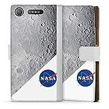 DeinDesign Étui Compatible avec Sony Xperia XZ1 Compact Étui Folio Étui magnétique NASA Lune...