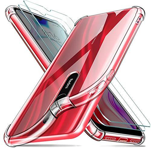 Leathlux Cover Xiaomi Redmi 8 Custodia Trasparente + 2 × Pellicola Vetro Temperato, Morbido Silicone [Antiurto Bumper] Custodie Protettivo TPU Gel Sottile Cover per Xiaomi Redmi 8 6.22'