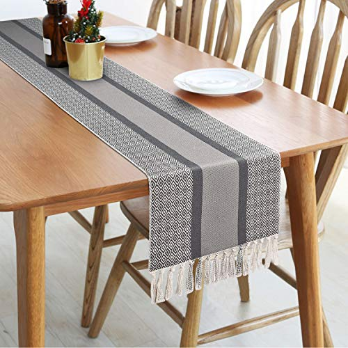 Rustic Woven Table Runners with Fringe, Gray Farmhouse Table Runner in Boho Style for Dining, Summer, Catering Events, Wedding, Indoor and Outdoor Parties 14 x 72 inches