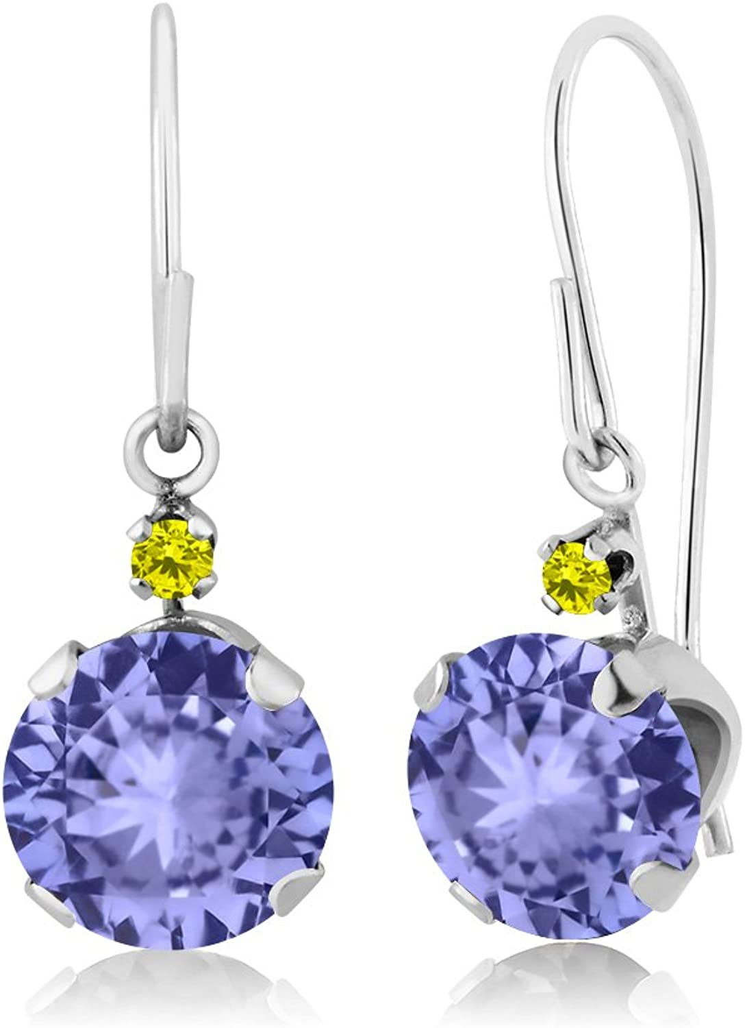 1.83 Ct Round bluee Tanzanite Canary Diamond 14K White gold Earrings