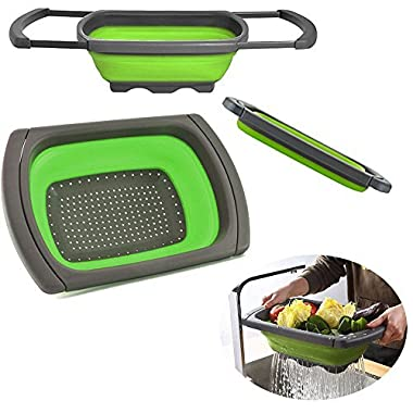 Wellish Kitchen Collapsible Colander, BPA Free Over The Sink Strainer With Steady Base For Standing, 6-quart Capacity, Dishwasher-Safe …