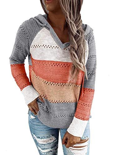 Lalala Pullover Damen Winter Strick Kapuzenpullover V Ausschnitt Gestreiftes Sweatshirt Hoodie Pulli (Grau M)