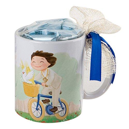 Mopec kinder communiemok fietstochten met geschenkdoos en 7 snoepjes, porselein, wit en geel, 8,20 x 8,20 x 9,5 cm