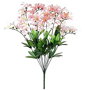 GF Artificial Silk Flowers Pink Cream Freesia Bush 22″ Bouquet MG019
