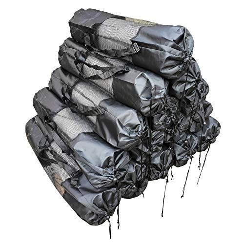 AweXs - Yoga Mats In Bulk 10 Pack Wholesale For Kids Adults Women High Density - All Purpose 1/2 Inch Thick Gray Grey Multi Use Fitness Exercise Stretching Workout Home Gym - Carrying Carry Strap Bags
