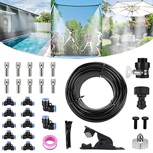 Bearbro Garten Automatische Bewässerung,Outdoor Misting System Einstellbar Wasser Cooling Sprinkler-System mit Fein vernebeltes Wasser für Treibhaus Gärten, Schwimmbad, Pflanzen (10 Meter)