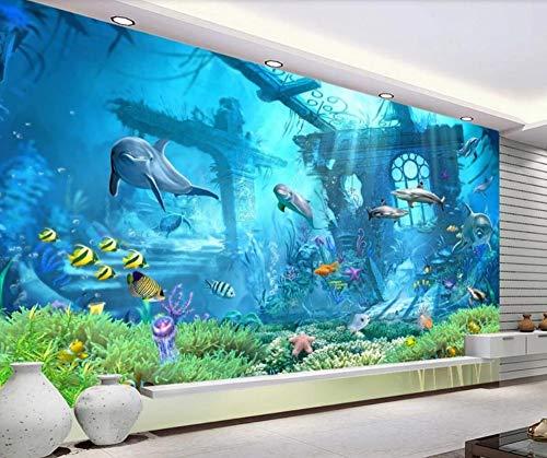 Fototapete 3D Effekt Tapeten Unterwasserwelt Dreidimensionaler Meeresgrund Vliestapete Wandbilder Wallpaper Dekoration