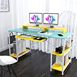 Blue Desk with Keyboard Tray & Drawers 55 INCH Study Table with Shelves Writing Desk with Hutch CPU Stand 4 Headphone Hooks Teen Desk Student Desk Colorful Gaming Desk for Bedroom Home