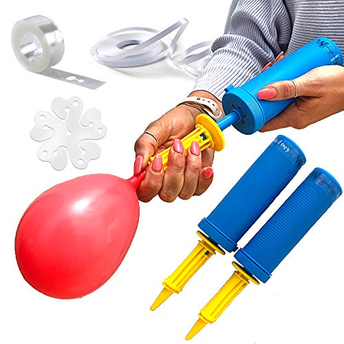 WHISPER AND ROSE Balloon Pump - Powerful Hand Air Pump for Balloons Dual Action Easy Balloon Inflator - Hand Pump for Balloon Garlands Kids Balloons Pump for Pool Inflatable Exercise Balls